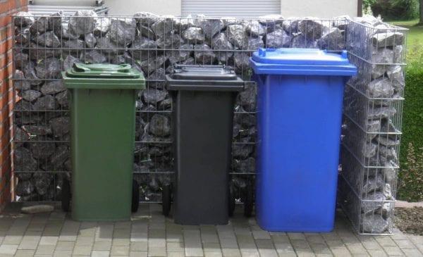 Gabionen Mülltonnenabtrennung