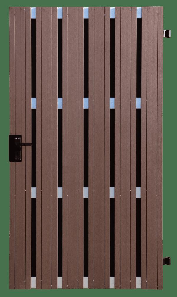 Zaunelement Tor GroJa Solid BPC, DIN links, 100 x 180 cm, Terra 1