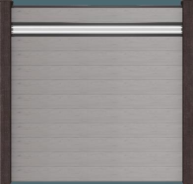 GroJa Solid BPC-Stecksystem, 11 Füllungen, 1 Glaseinsatz, 180x180 cm, Steingrau co-extrudiert 1