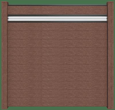 Steckzaun GroJa Solid BPC, 11 Füllungen, 1 Glaseinsatz, 180x180 cm, Terra 1