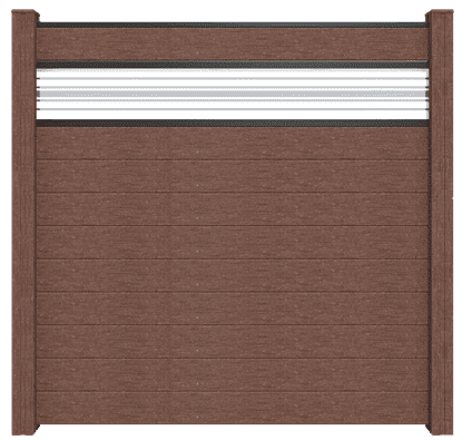 Steck Zaun GroJa Solid BPC, 10 Füllungen, 1 Glaseinsatz, 180x180 cm, Terra 1
