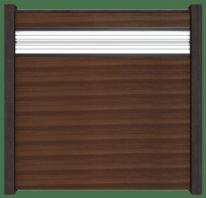 GroJa Solid BPC-Stecksystem, 10 Füllungen, 1 Glaseinsatz, 180x180 cm, Walnuss co-extrudiert 1