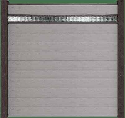 GroJa Solid Steckzaun BPC, 11 Füllungen, 1 Lochblech-Einsatz, 180x180 cm, Steingrau co-extrudiert 1