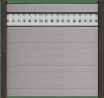 GroJa Solid BPC-Stecksystem, 10 Füllungen, 1 Lochblech-Einsatz, 180x180 cm, Steingrau co-extrudiert 1