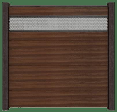 Steckzäune GroJa Solid BPC, 10 Füllungen, 1 Lochblech-Einsatz, 180x180 cm, Walnuss co-extrudiert 1