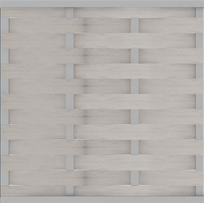 Flechtzaun GroJa Solid Element, U-Schiene, 180x180 cm, Bi-Color Weiß, Quadratisch 1